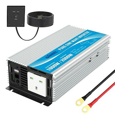 GIANDEL 1000W/2000W Pure Sine Wave Power Inverter 12V To AC 240V Converter  • 134.99£