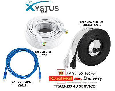 CAT6 RJ45 CAT7 Ethernet Network HighSpeed LAN Patch Cable 1M-50M Wholesale WHITE • 5.99£