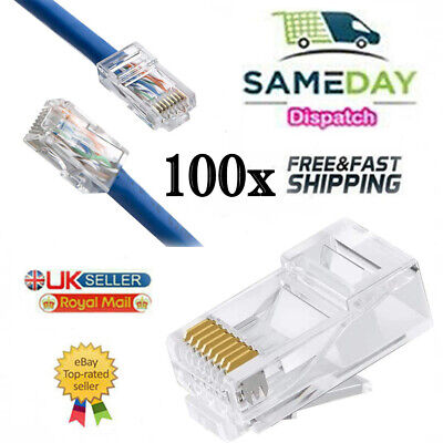 100x RJ45 Network LAN CAT5e Cat6 Patch Cable End Crimp Plug Connector GOLD Pins • 4.99£