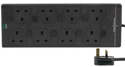 8 Gang Way 3m Metre 13A Mains Surge Power Extension Socket Cable Black Switched • 14.92£