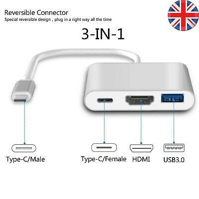 Type C To USB-C 4K HDMI USB 3.0 3 In 1 Hub Adapter Cable For Apple Macbook UK • 6.59£
