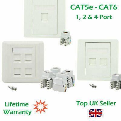 1, 2 & 4 Port CAT5E CAT6 Network Wall Socket RJ45 LAN Faceplate Single Gang • 3.95£