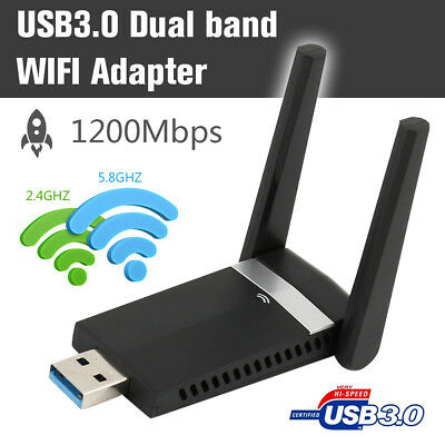 1200Mbps USB WIFI Dongle Wireless Adapter  For Laptop PC Dual Band 2.4GHz-5.8GHz • 12.79£