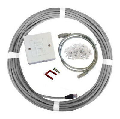 15m Cat6 Internal Home Office Network Cable Ethernet Extension Kit Faceplate Box • 12.36£