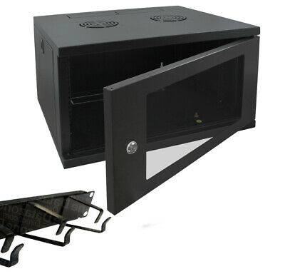 9u 600mm 19  Black Wall Mounted Data Cabinet, With Cable Management Bar • 146£