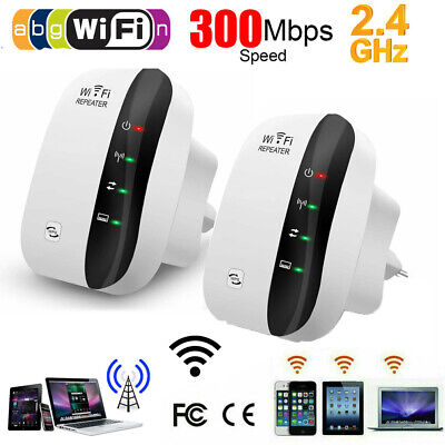2X Wifi Repeater 300Mbps Wireless 802.11 AP Router Extender Signal Booster Range • 33.99£