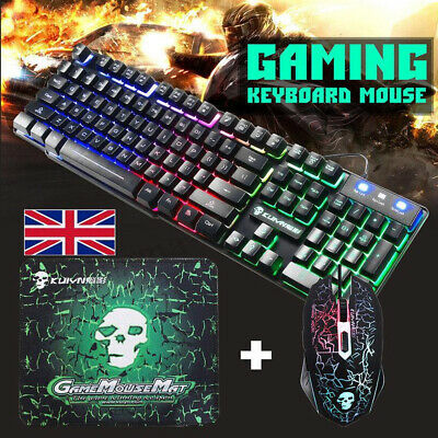 Rainbow T6 Backlight USB Wired Gaming Keyboard And Mouse Set For PC Laptop New • 15.99£
