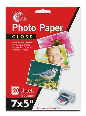 7 X5  Premium Gloss Photo Paper 20 Sheets 235gsm For All Inkjet Printers • 2.89£