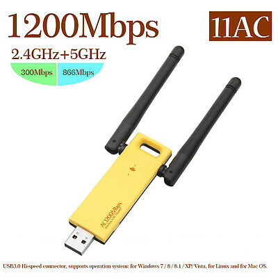 USB WiFi Dongle Adapter 1200Mbps Wireless Network For Laptop Desktop PC 2.4/5GHz • 9.99£