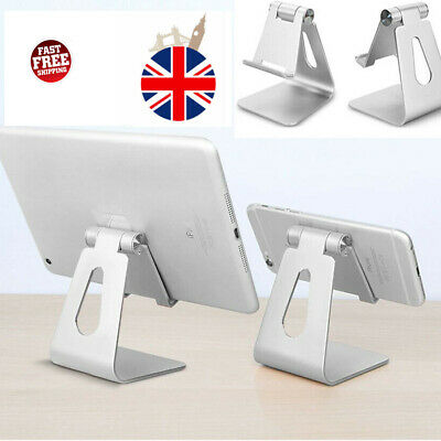 Adjustable Desk Table Stand Holder Tool For IPad Tablet Phone Aluminum Silver UK • 7.79£