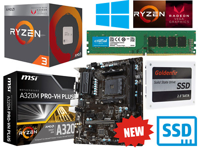 AMD Quad Core Ryzen 3 Gaming Bundle 8GB RAM, SSD, MSI Motherboard Windows 10 Pro • 239.95£