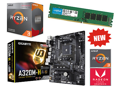 AMD Ryzen 4 Core 4.0GHz Gigabyte A320M PRO Gaming Motherboard Bundle 8GB RAM • 179.95£