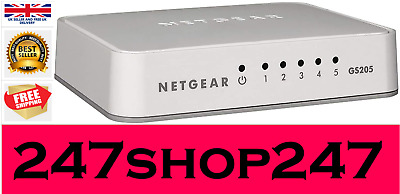 NETGEAR GS205, 5 Port Gigabit Ethernet Network Switch, Ethernet Splitter, Hub • 14.99£