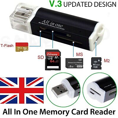 All In One All In 1 USB Memory Card Reader Adapter For Micro SD MMC SDHC TF M2 • 2.99£
