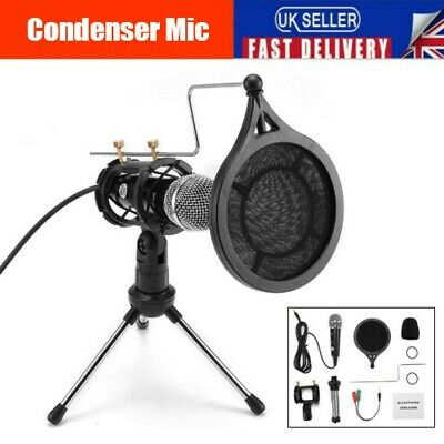 Professional Recording Condenser Microphone Fr PC Laptop Youtube W/ Tripod Stand • 11.99£