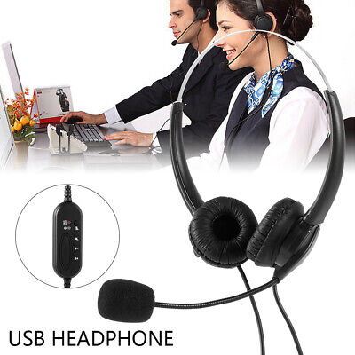 Wired USB PC Headset & Microphone Noise Cancelling For Business Office Laptop • 11.99£