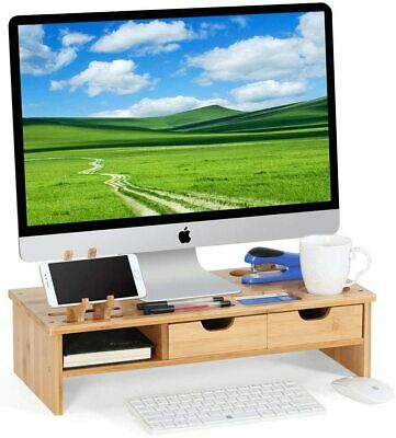 Bamboo Monitor Stand TV PC Laptop Computer Screen Riser With Storage Organizer • 22.79£