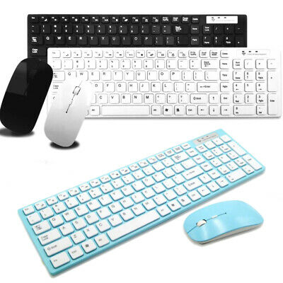 2.4GHz Wireless Keyboard And Mouse Combo Set Ultra Slim USB Receiver For PC UK • 13.59£