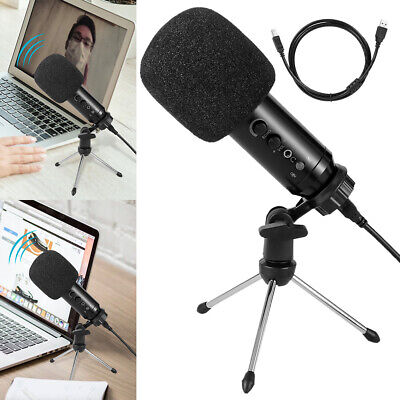 PC Wired Microphone Plug & Play Home Studio USB Condenser Record & Stand Tripod • 18.99£