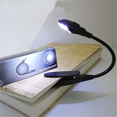 Portable Travel Flexible Neck LED Clamp Clip-On Reading Book Light Lamp HU • 2.97£