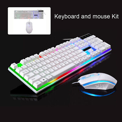 Gaming Keyboard Mouse Set Rainbow LED Wired USB For PC Laptop PS4 Xbox One 360UK • 13.98£