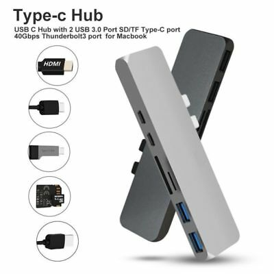7in1 USB-C Hub HDMI Dual Type-C Multiport Card Reader Adapter 4K For MacBook Air • 17.99£