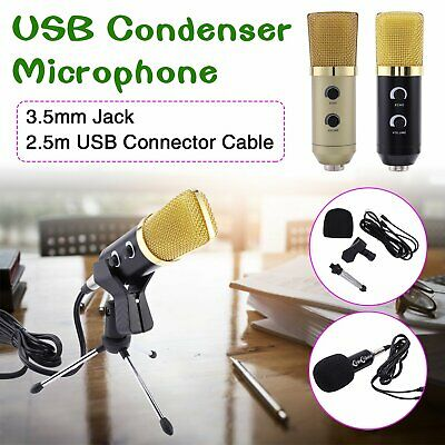 PC USB Podcast Studio Condenser Recording Microphone Vocal Singing Mic Stand UK • 7.59£