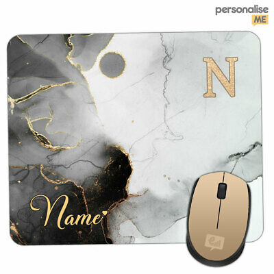 Personalised INITIALS Name Gray Marble Glitter Mouse Mat Pad PC Laptop Computer • 4.95£