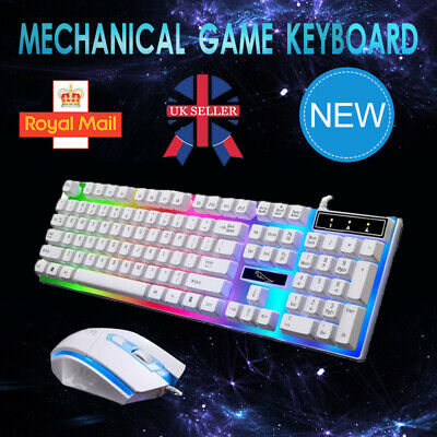 Gaming Keyboard Mouse Set Rainbow LED Wired USB For PC Laptop PS4 Xbox One 360 H • 9.99£