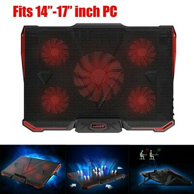6 Powerful Fans Quiet Gaming Cooling Pad LED Light Laptop Cooler Stand UK Stock • 17.39£