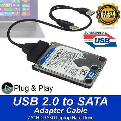 USB 2.0 To SATA 22 Pin 2.5 Inch Hard Disk Drive SSD Adapter Connector Cable Lead • 2.99£