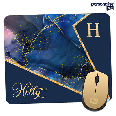Personalised INITIALS Marble Blue Gold Glitter Mouse Mat Pad PC Gift Office Room • 4.95£