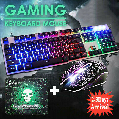 Pro Gaming Keyboard And Mouse Set Rainbow LED Wired USB For PC Laptop PS4 Xbox • 13.59£
