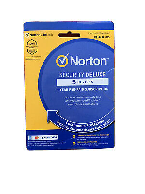 Norton Security Deluxe 2020/21 5 Devices, PC 1 Year Secure Internet Security 360 • 12.69£