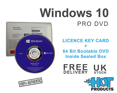 Windows 10 Professional 64 Bit DVD And Activation Key • 49.95£