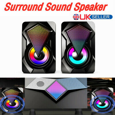 Surround Sound System LED PC Speakers Gaming Bass USB Wired Fit Desktop Computer • 12.45£