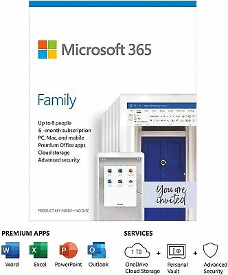 Microsoft 365 Family | Office 365 Home | 6 Months Subscription | Up To 6 Users • 24.99£