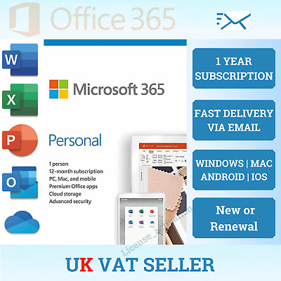 Microsoft Office 365 Personal - 1 Year Key - 1 User - 5 Devices - Download - Uk • 41.90£