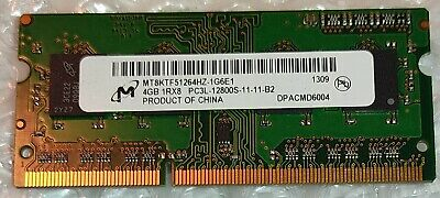 4GB MICRON MT8KTF51264HZ-1G6E1 PC3L-12800S DDR3-1600 1Rx8 Laptop RAM Memory • 10.99£
