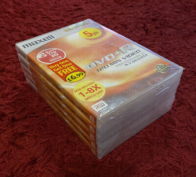 Maxell DVD +R 120min Recordable 4.7 GB RW 5 Pack Sealed • 4£