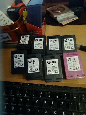 HP 301 Empty Ink Cartridges X8 7x Black 1x Tri-colour Used Once Never Refilled • 9.99£