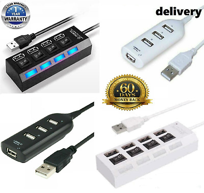 High Speed 4 Port USB HUB 2.0 Multi Splitter Expansion PC Laptop Adapter UK Stoc • 4.49£
