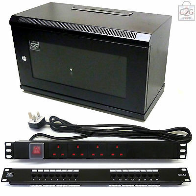 6U Black 300mm Data Cabinet & Patch Panel, 4 Way Power Unit Network Comms Rack • 89.17£