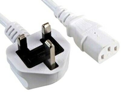 3M Metre WHITE PC Power Cable LCD Led UK IEC Kettle Lead Plug Monitor 3 X 1.0mm2 • 6.59£
