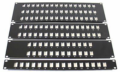 16 Port 19  Rack Mount Keystone Frame Panel For Data Cabinets, Patch Connections • 9.99£