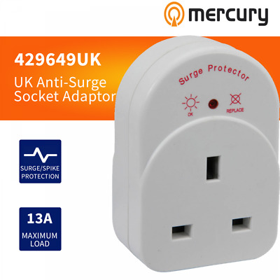Mercury UK Mains Plug In Anti-Surge Socket Adaptor With Protection Indicator 13A • 12.99£