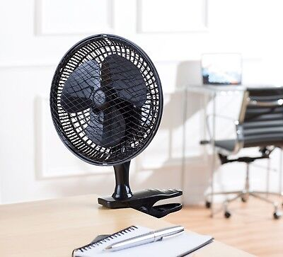 Schallen BLACK Portable Office Home Air Cool Small 6'' Clip On Desktop Desk Fan • 12.95£
