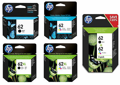 Original HP 62 / 62XL Black & Colour Ink Cartridges For ENVY 5540 Printer • 19.99£