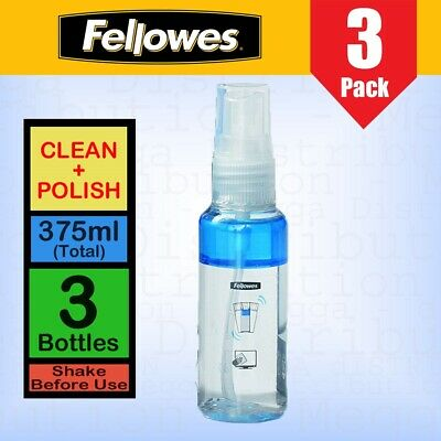 3 X Fellowes 125ml 2in1 Screen Cleaner + Polish Solution For Tablet Laptop Phone • 1.95£