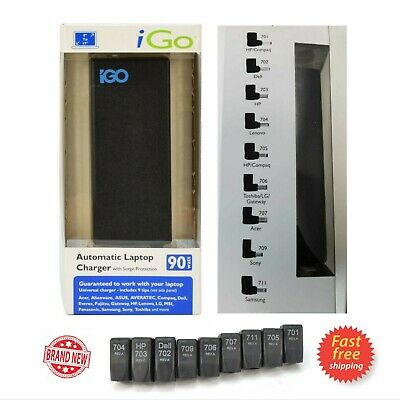 IGo AUTOMATIC Universal Laptop Charger Surge 19V 90W DELL HP LG LENOVO ASUS ACER • 13.95£